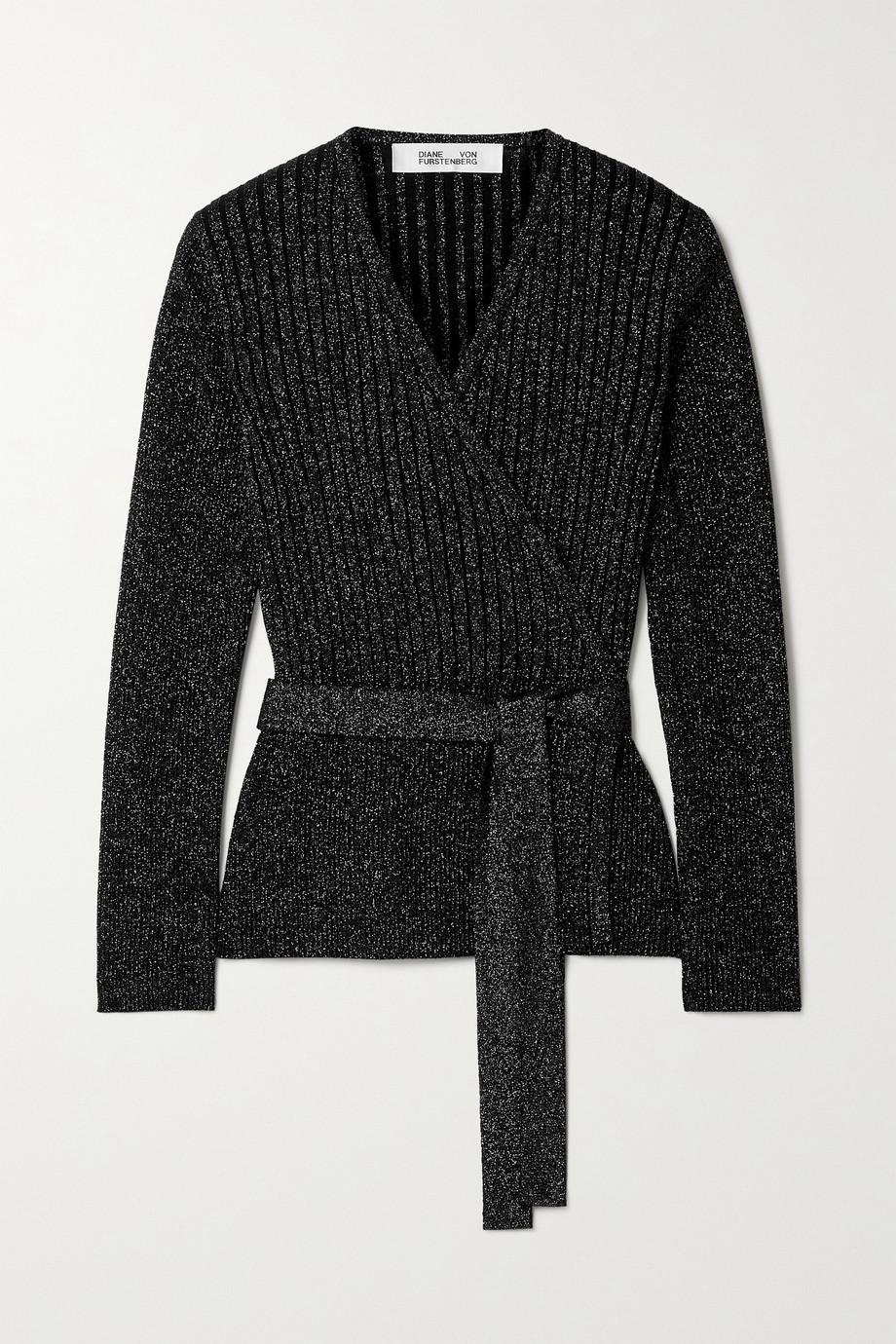 Diane von Furstenberg Bonnie ribbed metallic merino wool-blend wrap top