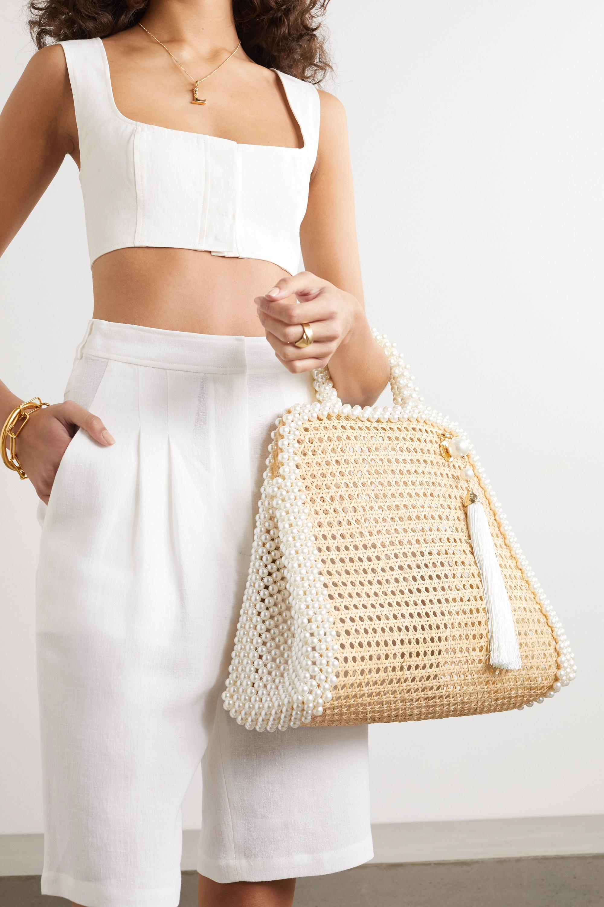 Rosantica Lido faux pearl-embellished wicker tote