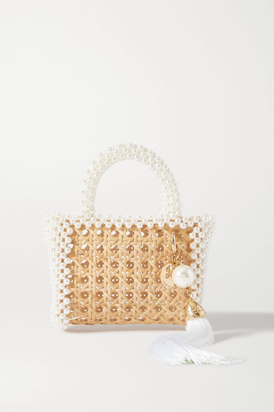 Rosantica Spiaggia faux pearl-embellished wicker tote