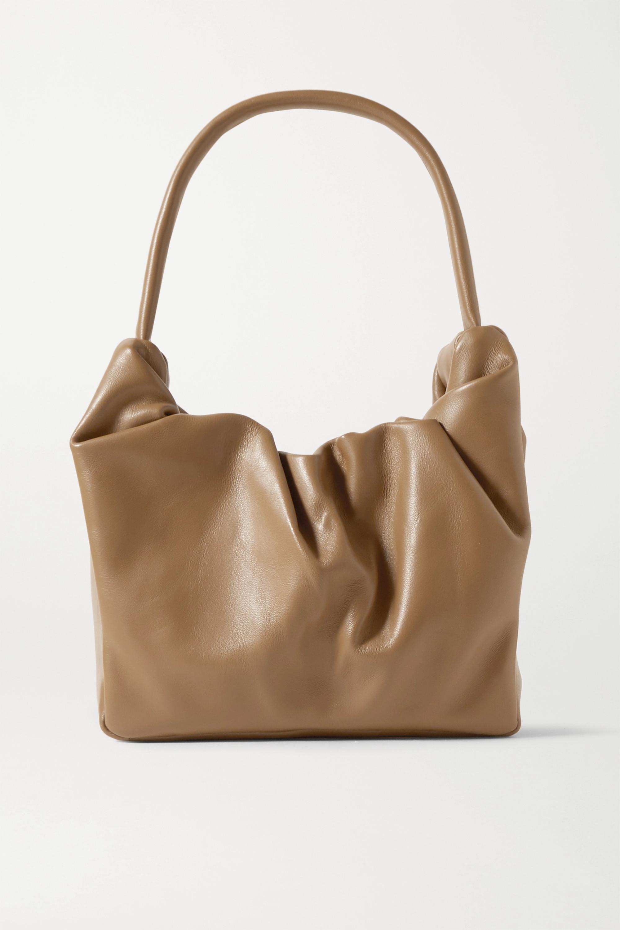 STAUD Felix ruched leather shoulder bag