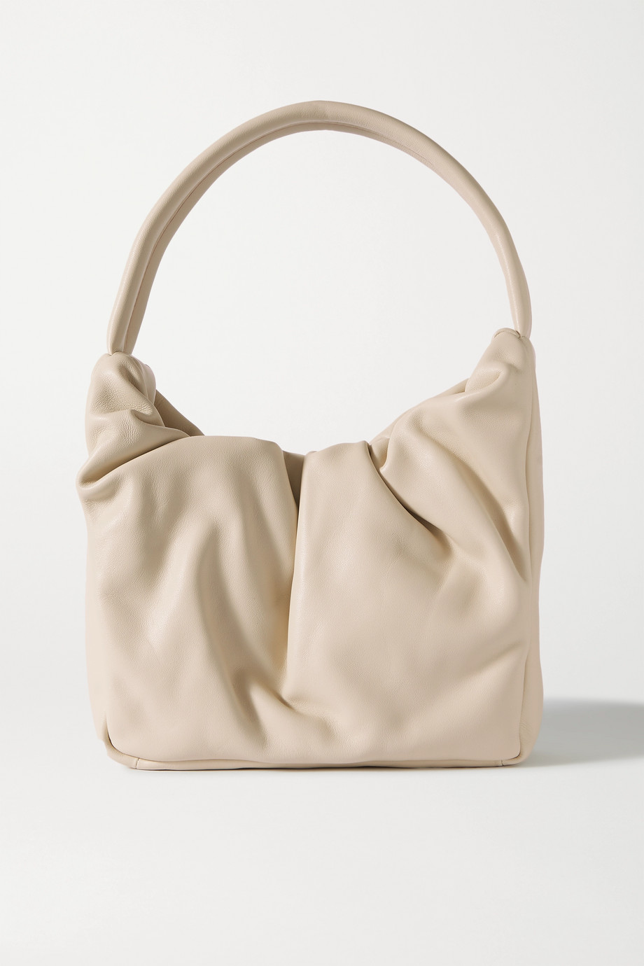 STAUD Felix ruched leather shoulder bag
