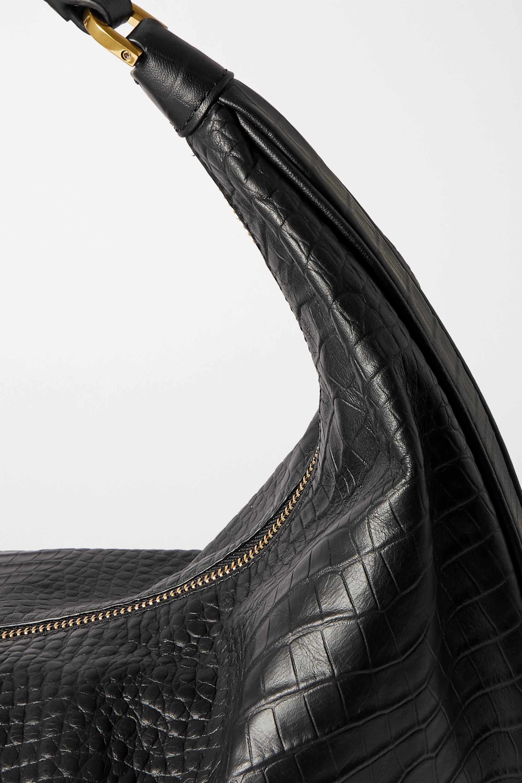 STAUD Sasha Schultertasche aus Leder mit Krokodileffekt