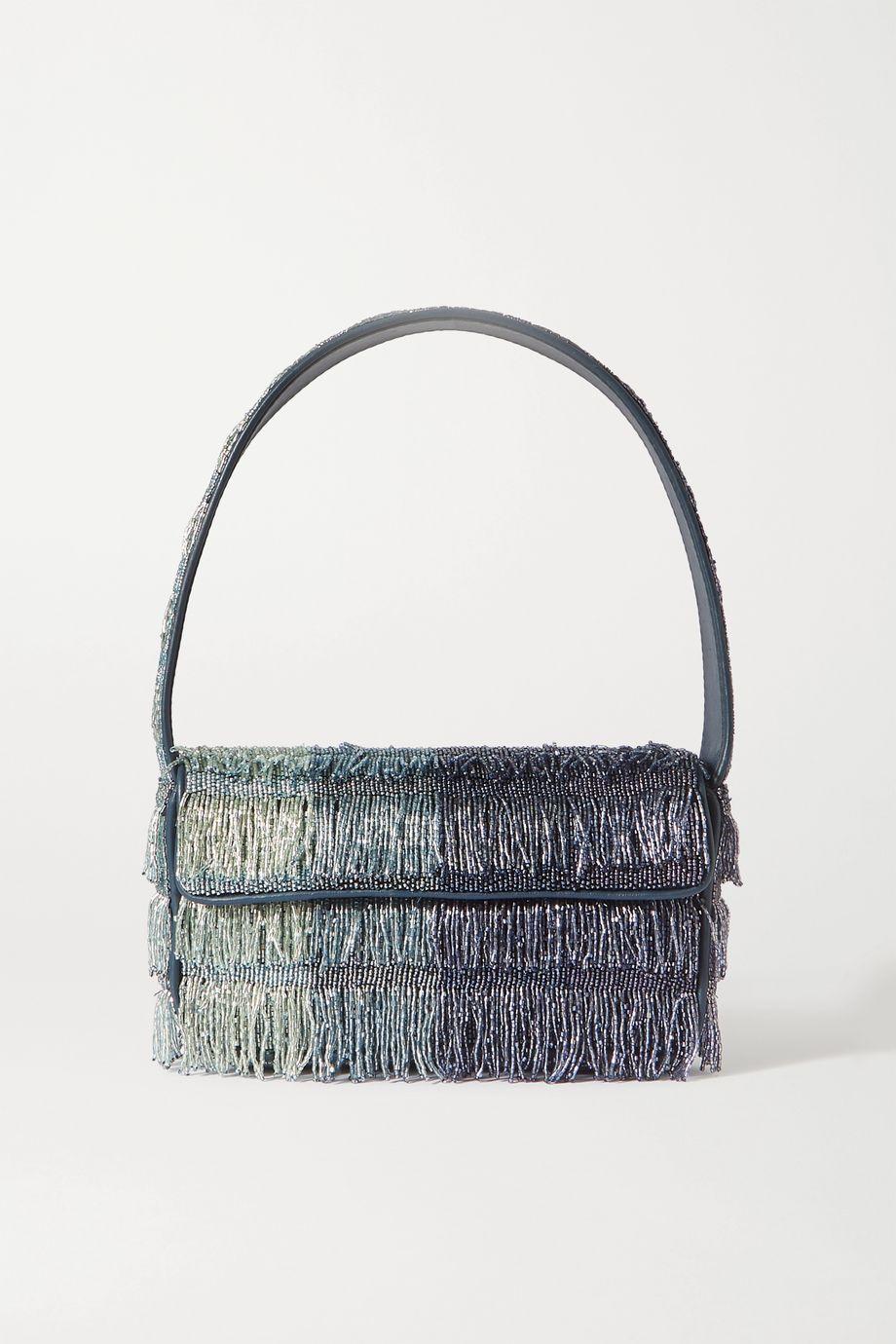 STAUD Tommy leather-trimmed fringed ombré beaded shoulder bag