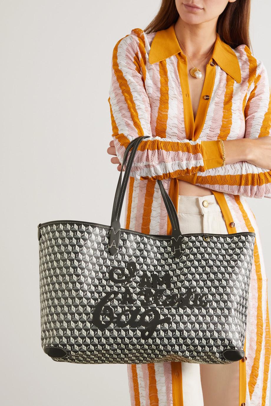 Anya Hindmarch Sac à main en toile enduite imprimée à finitions en cuir I Am A Plastic Bag Large - NET SUSTAIN