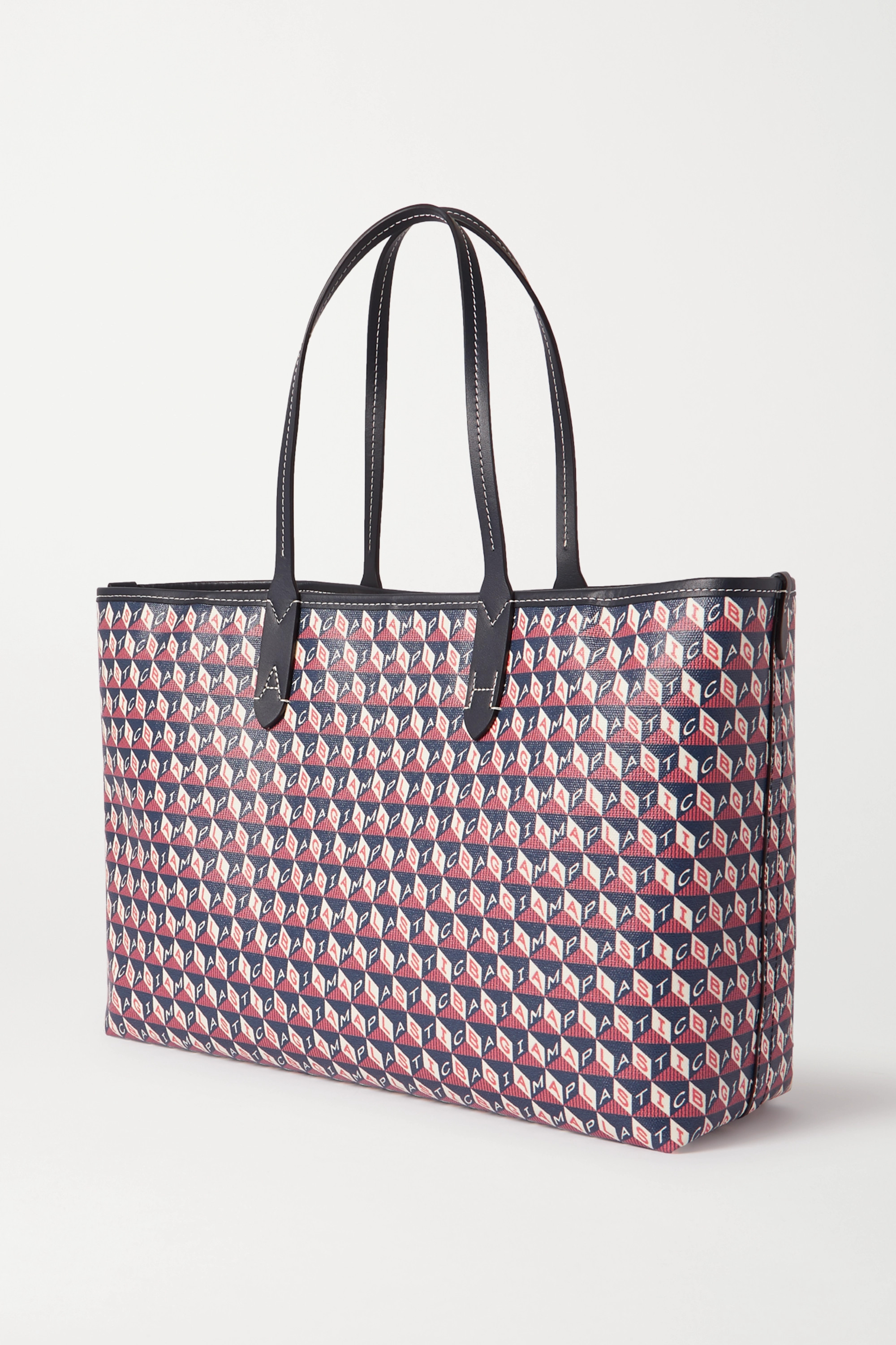 Anya Hindmarch I Am A Plastic Bag small appliquéd leather-trimmed printed coated-canvas tote