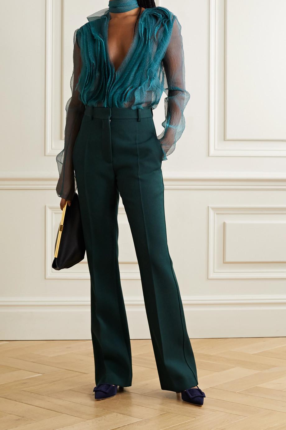 Jason Wu Collection Tie-neck ruffled silk-blend organza blouse
