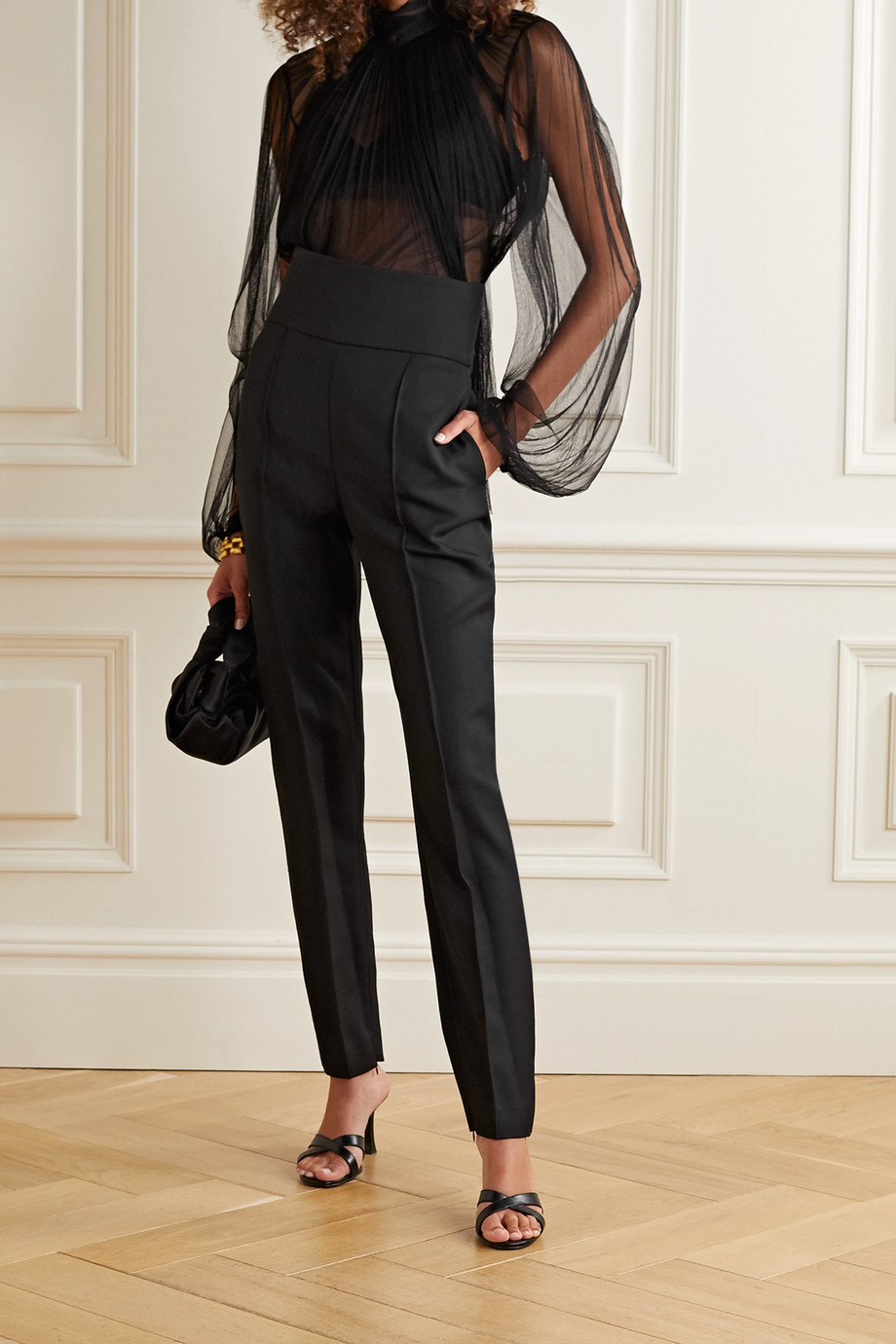 Jason Wu Collection Gathered silk-blend tulle top