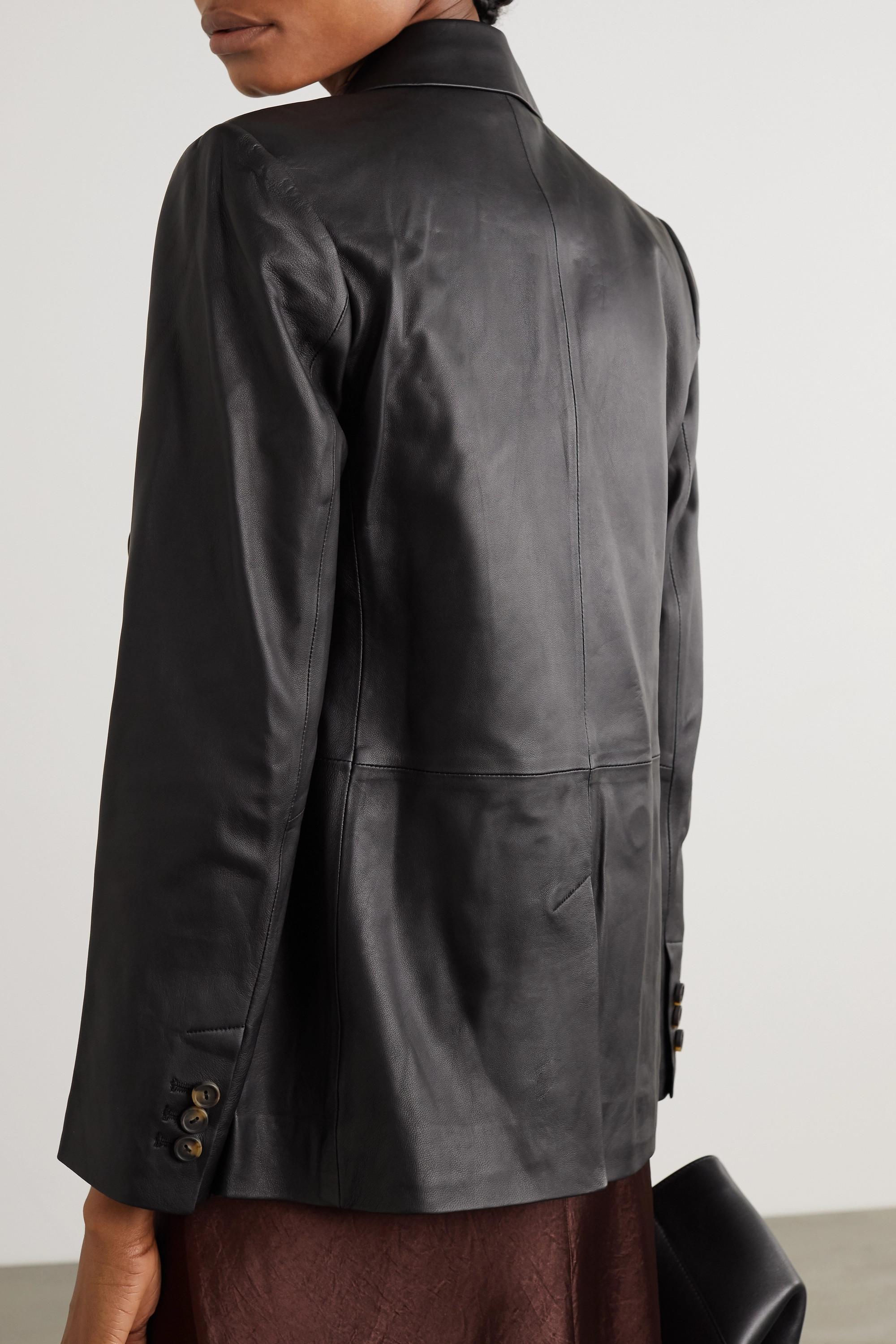 Vince 双排扣皮革西装外套