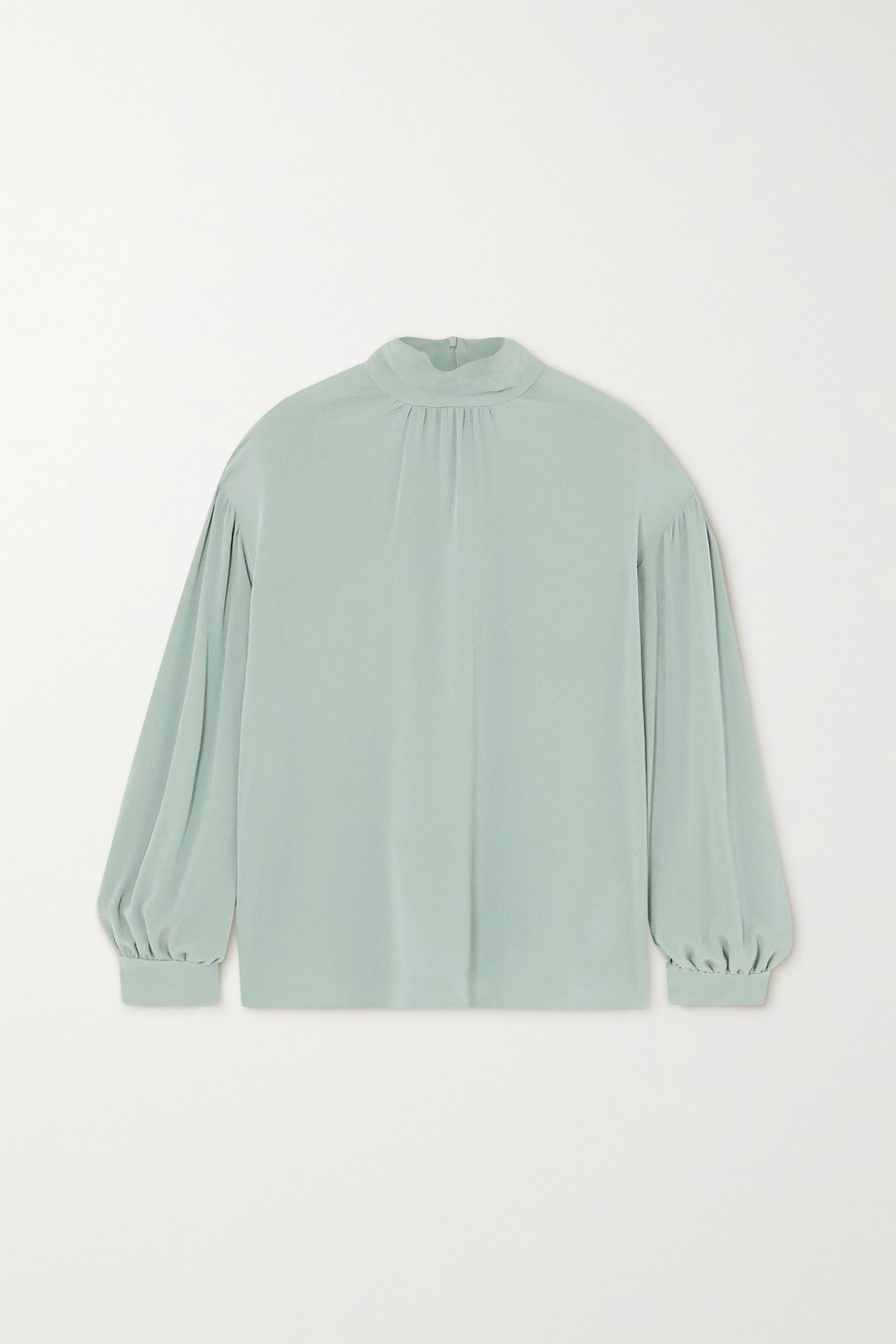 Vince Gathered silk-crepe blouse