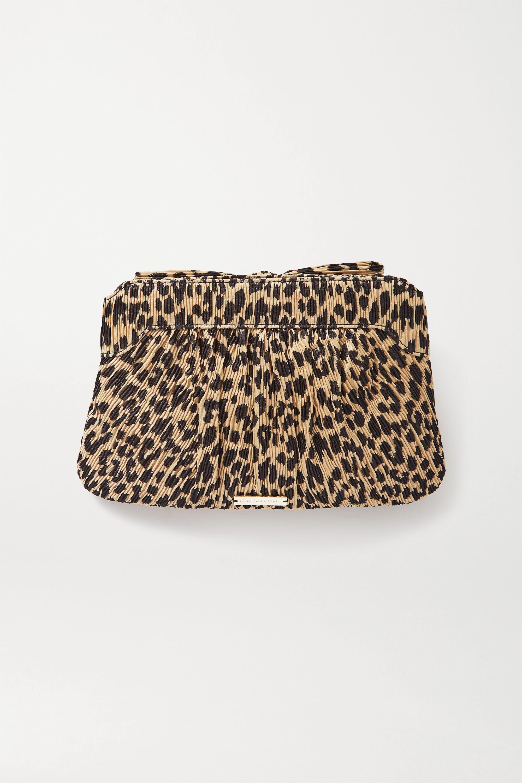 Loeffler Randall Rayne bow-detailed leopard-print plissé-crepe clutch