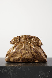 Loeffler Randall Loretta gathered metallic snake-effect leather clutch