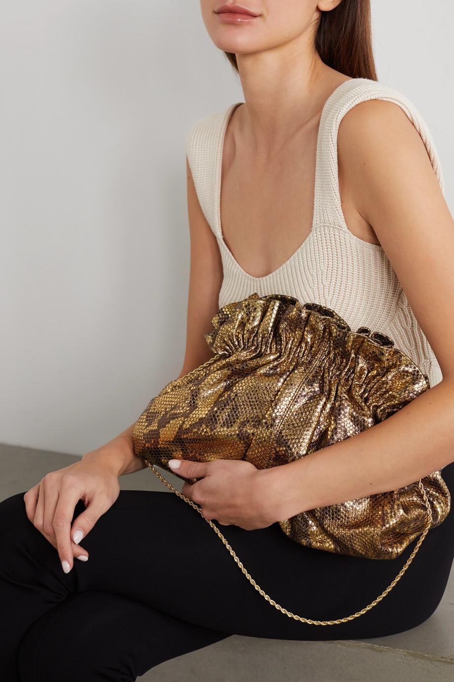 Loeffler Randall Loretta gathered metallic snake-effect leather clutch