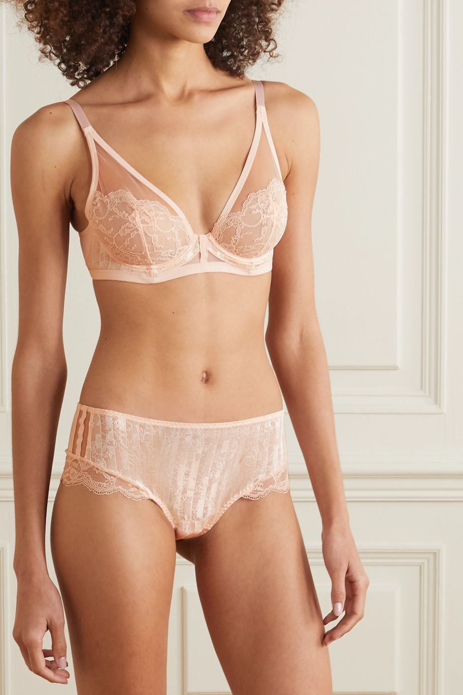 Maison Lejaby Embroidered stretch-tulle underwired soft-cup triangle bra