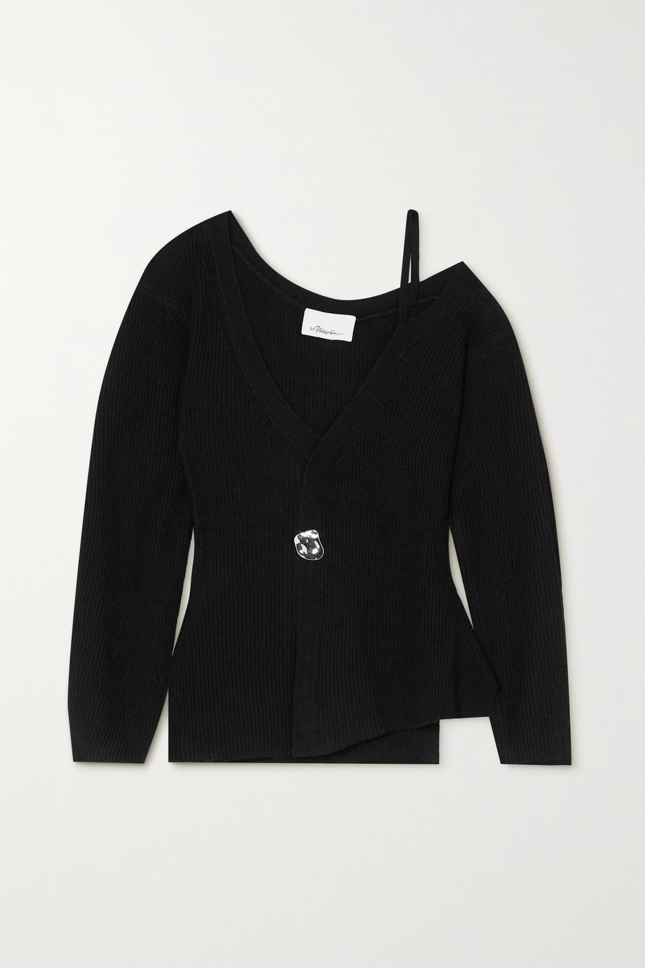 3.1 Phillip Lim Cold-shoulder embellished ribbed wool-blend sweater
