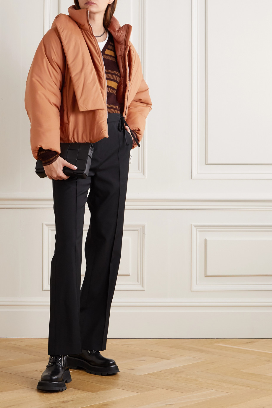 3.1 Phillip Lim 系带细节带填充物棉质混纺软壳面料连帽夹克