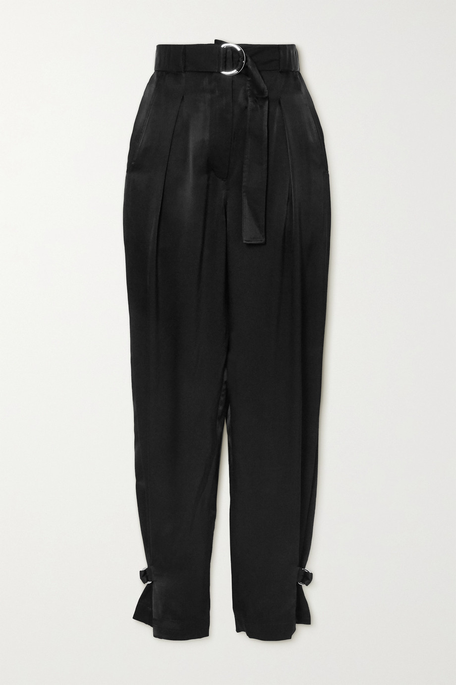 3.1 Phillip Lim Belted pleated satin tapered pants