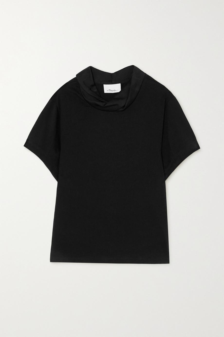 3.1 Phillip Lim 垂褶锤花缎边饰纯棉平纹布 T 恤