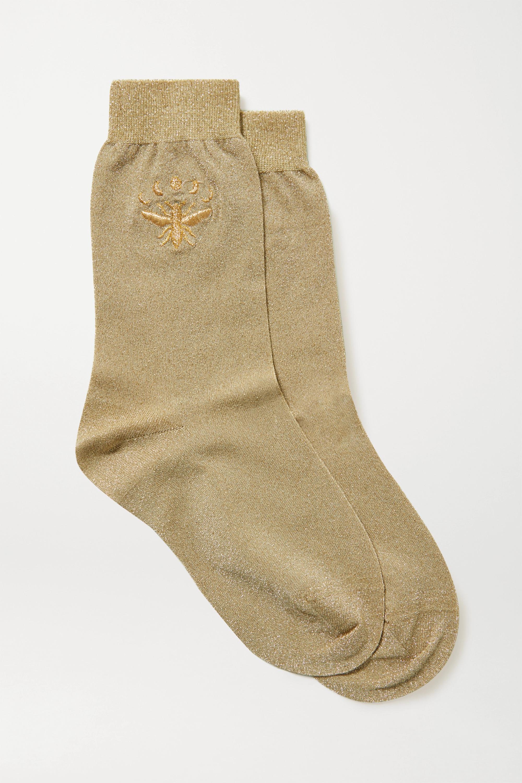 Maria La Rosa Embroidered metallic stretch-knit socks