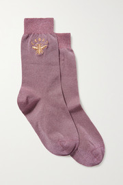 Maria La Rosa Embroidered metallic stretch-knit socks