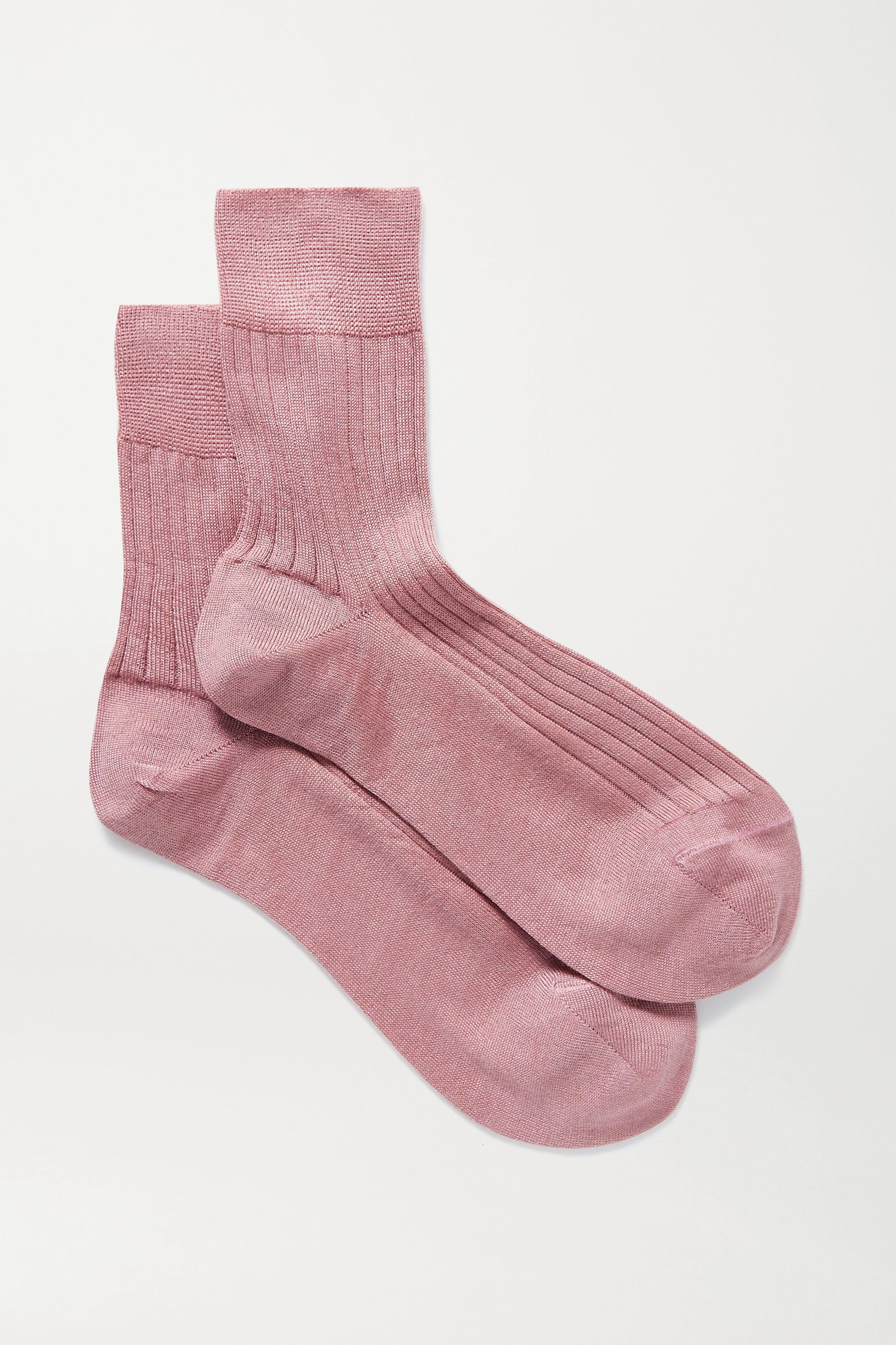 Maria La Rosa Ribbed cashmere and silk-blend socks