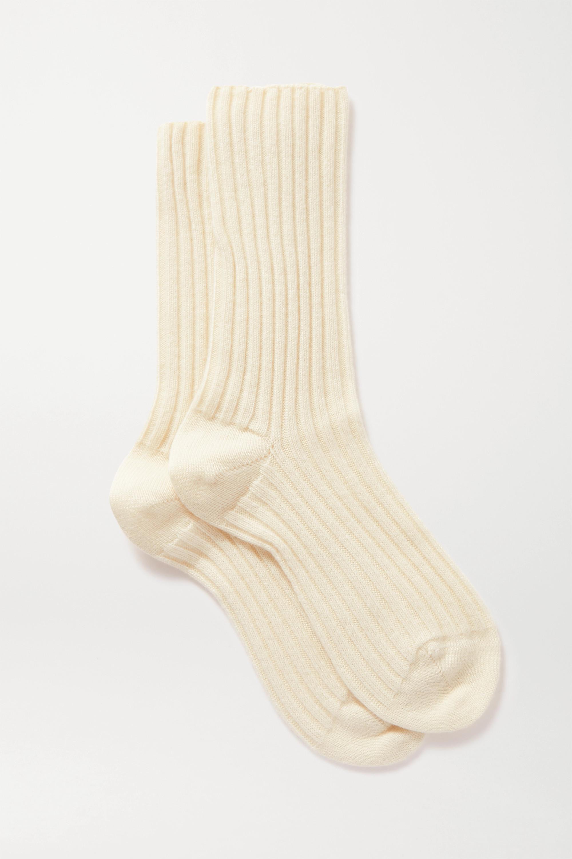 Beige Ribbed Cashmere Socks | Maria La Rosa