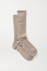 Maria La Rosa Ribbed merino wool-blend socks