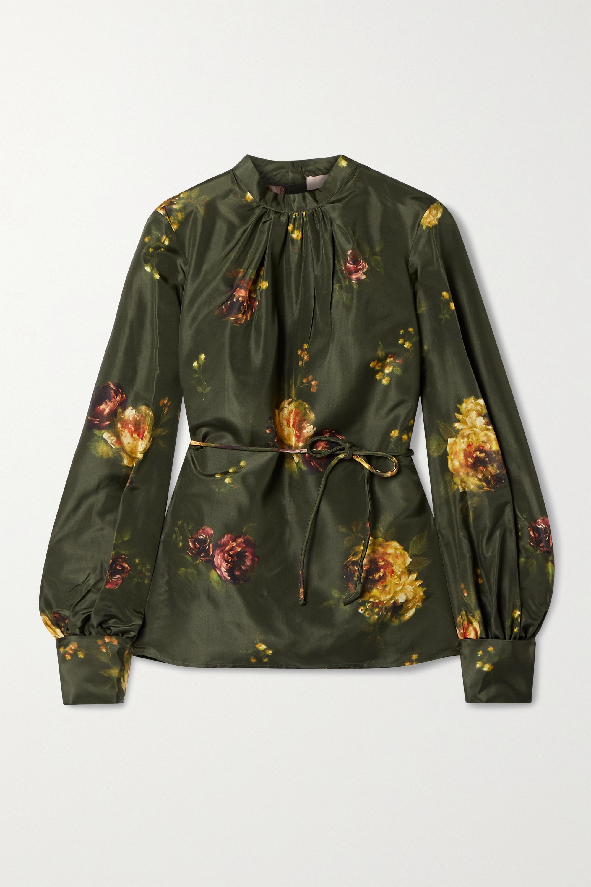 Brock Collection Open-back floral-print silk-taffeta blouse