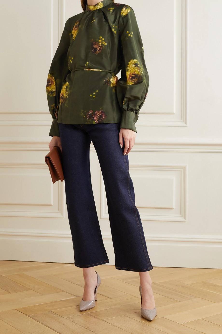 Brock Collection Open-back floral-print silk-taffeta blouse