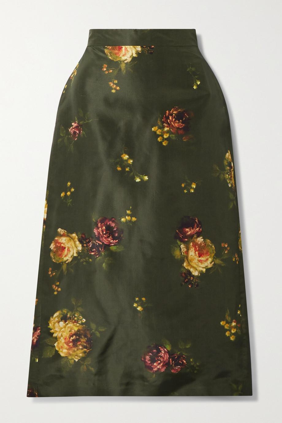 Brock Collection Floral-print silk-taffeta midi skirt