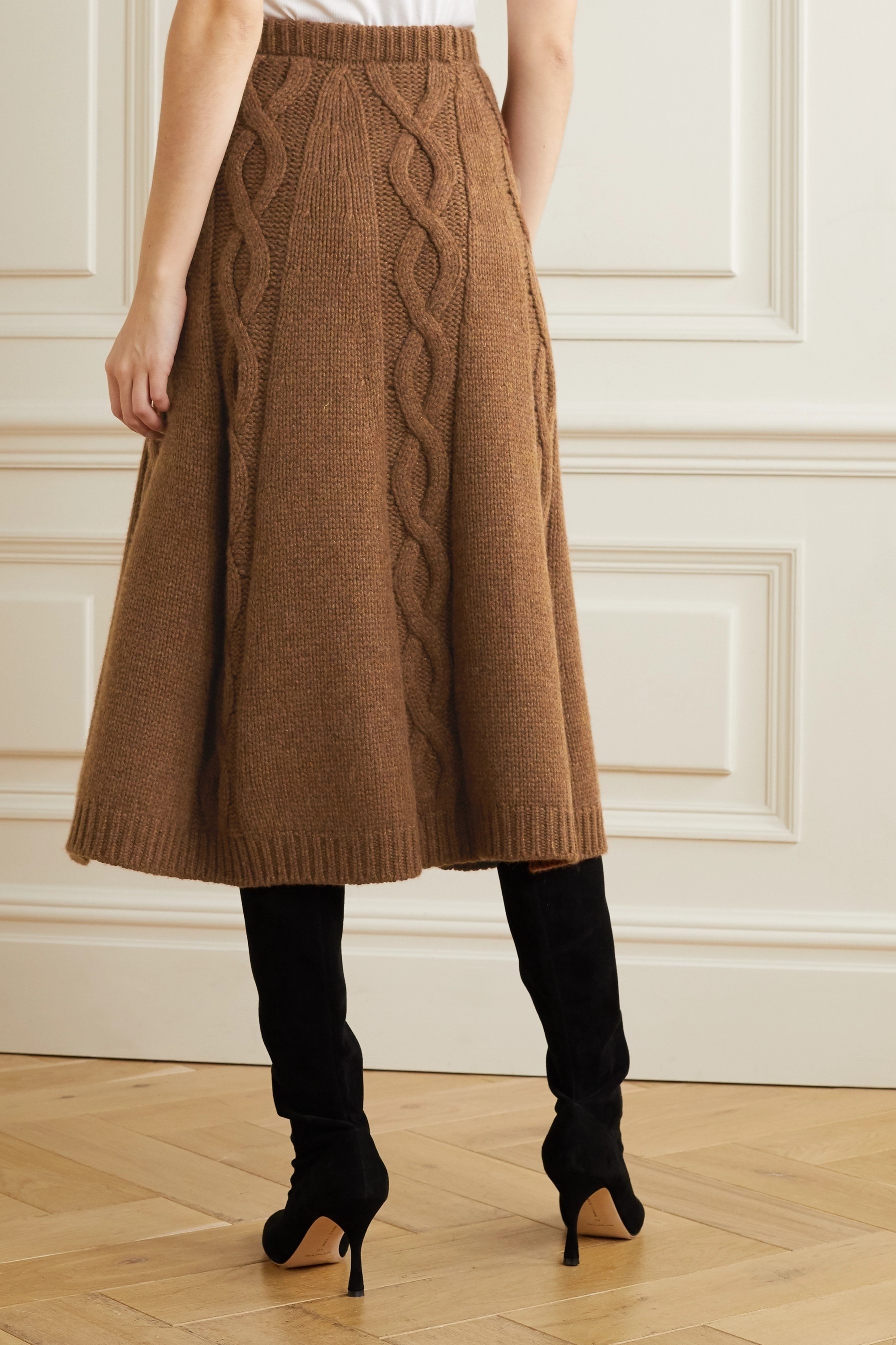Brock Collection Cable-knit cashmere midi skirt