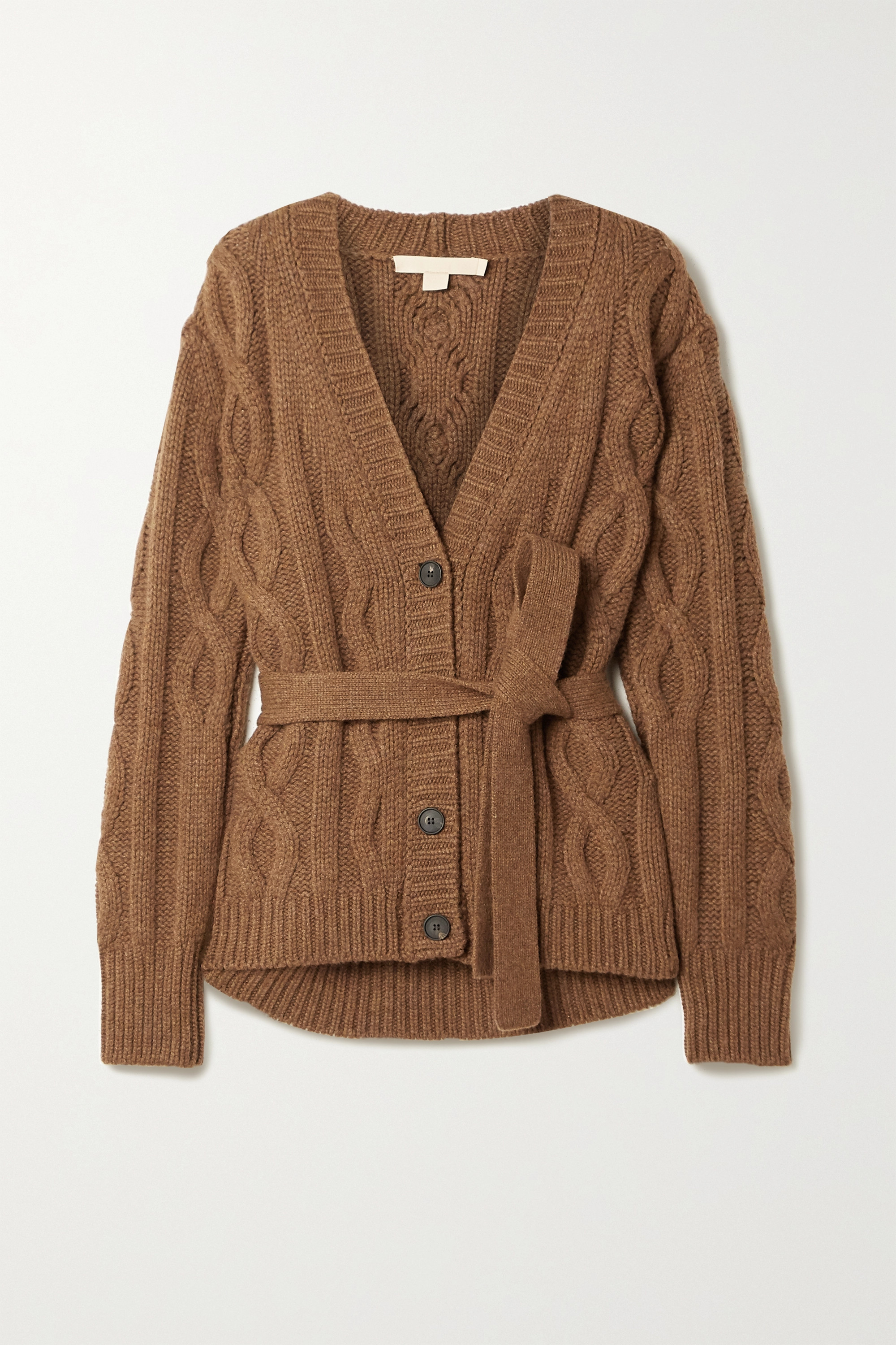 Brock Collection Belted cable-knit cashmere cardigan