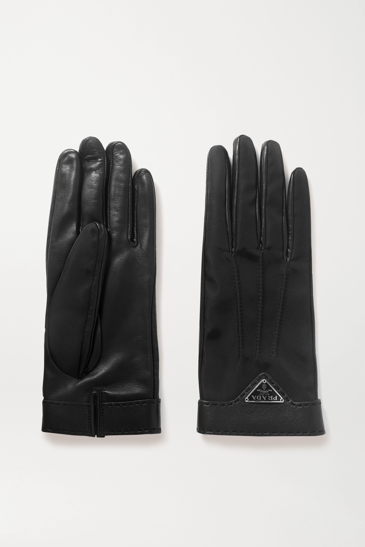 Prada Gants en nylon et en cuir à appliqués