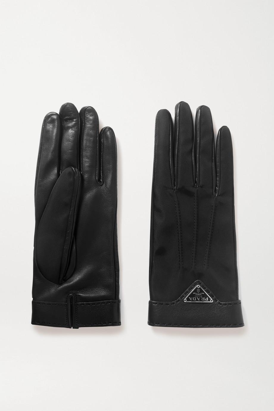 Prada Handschuhe aus Nylon und Leder mit Applikation