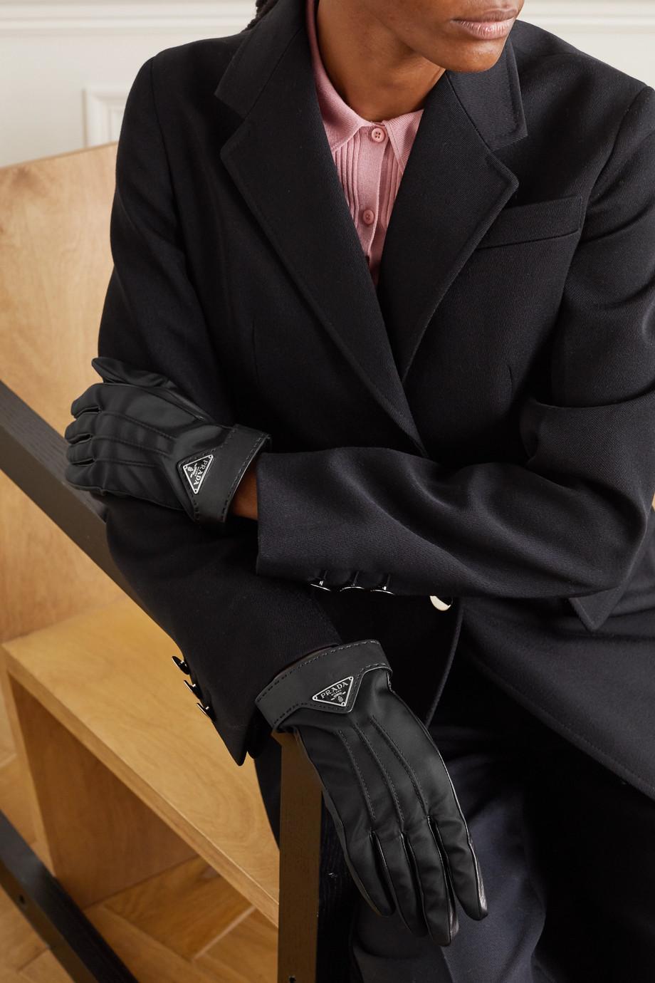 Prada Appliquéd nylon and leather gloves