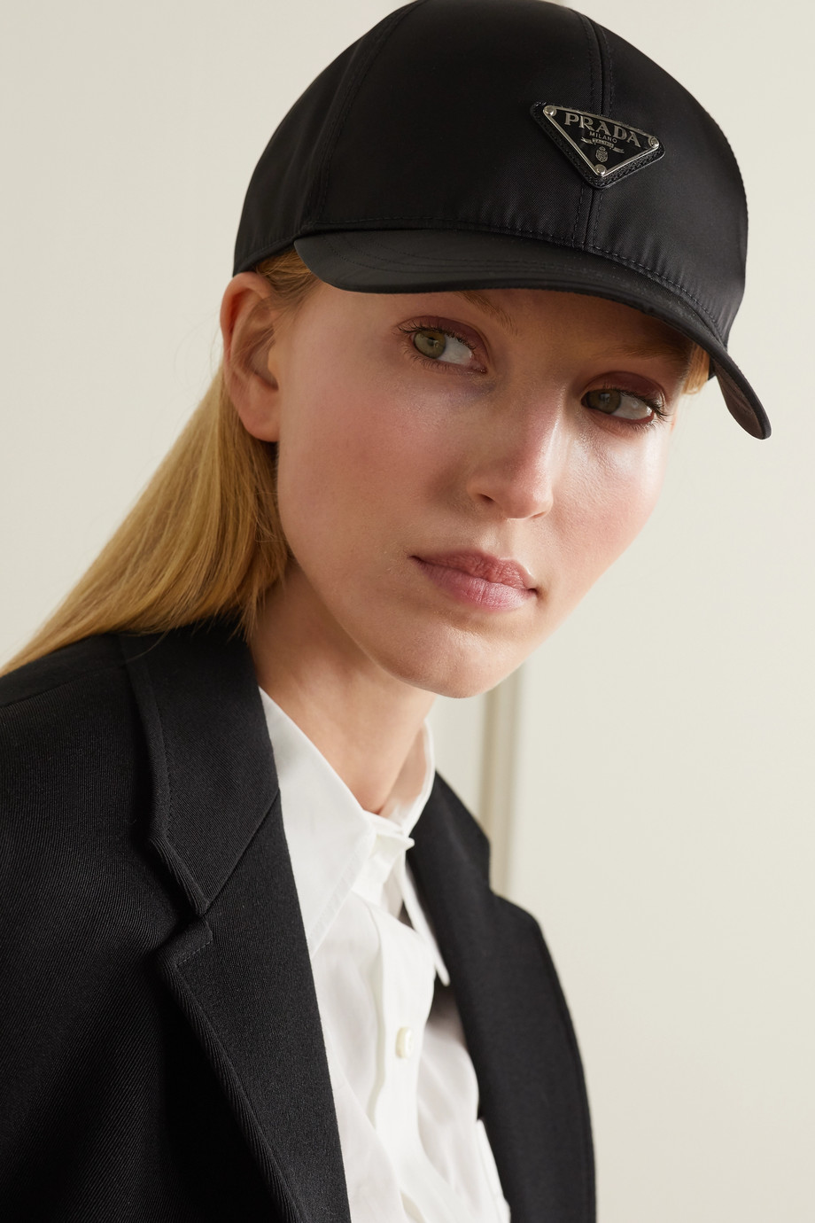 Prada Appliquéd nylon baseball cap