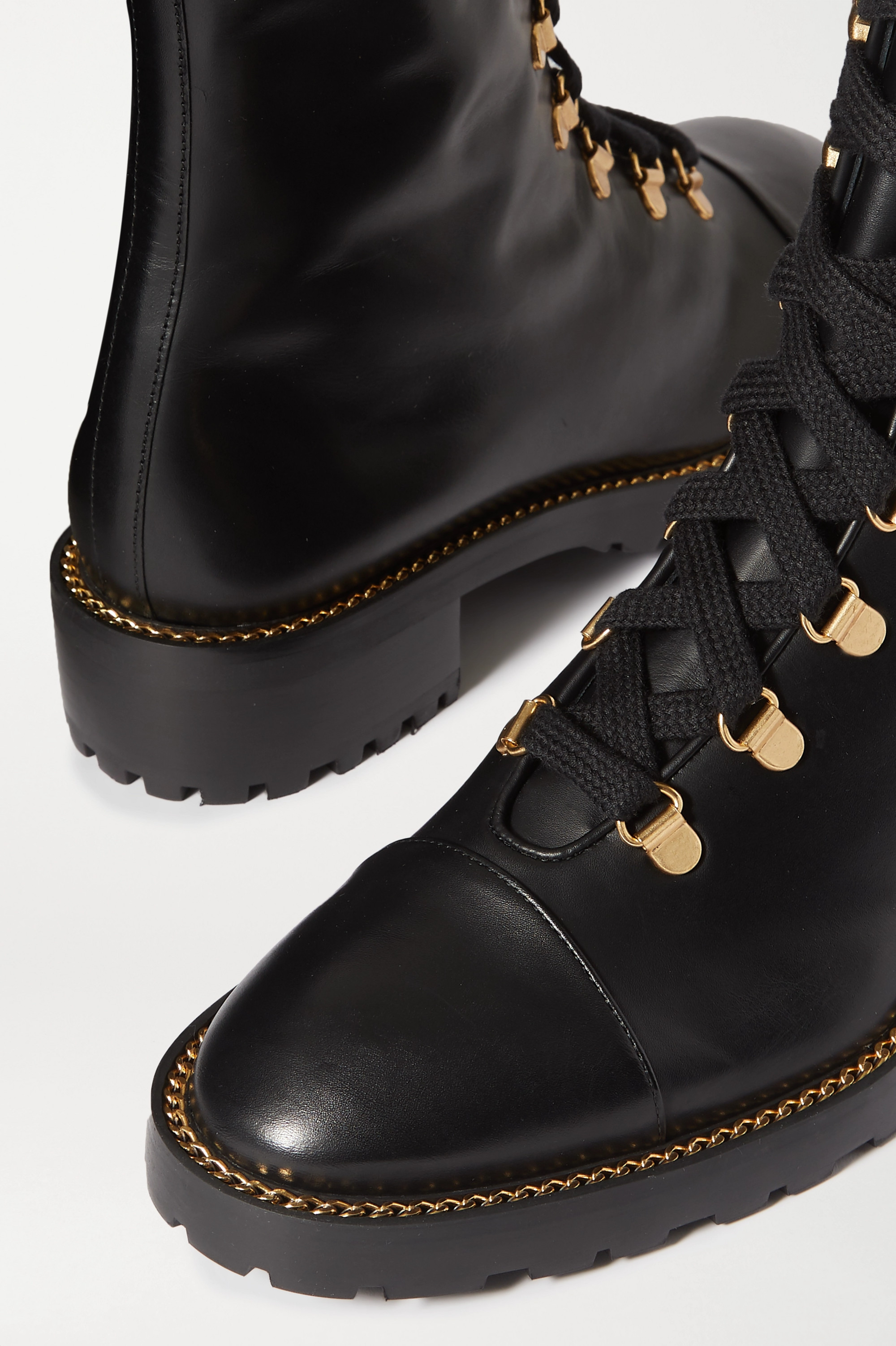 Stuart Weitzman Kolbie 链条缀饰皮革踝靴
