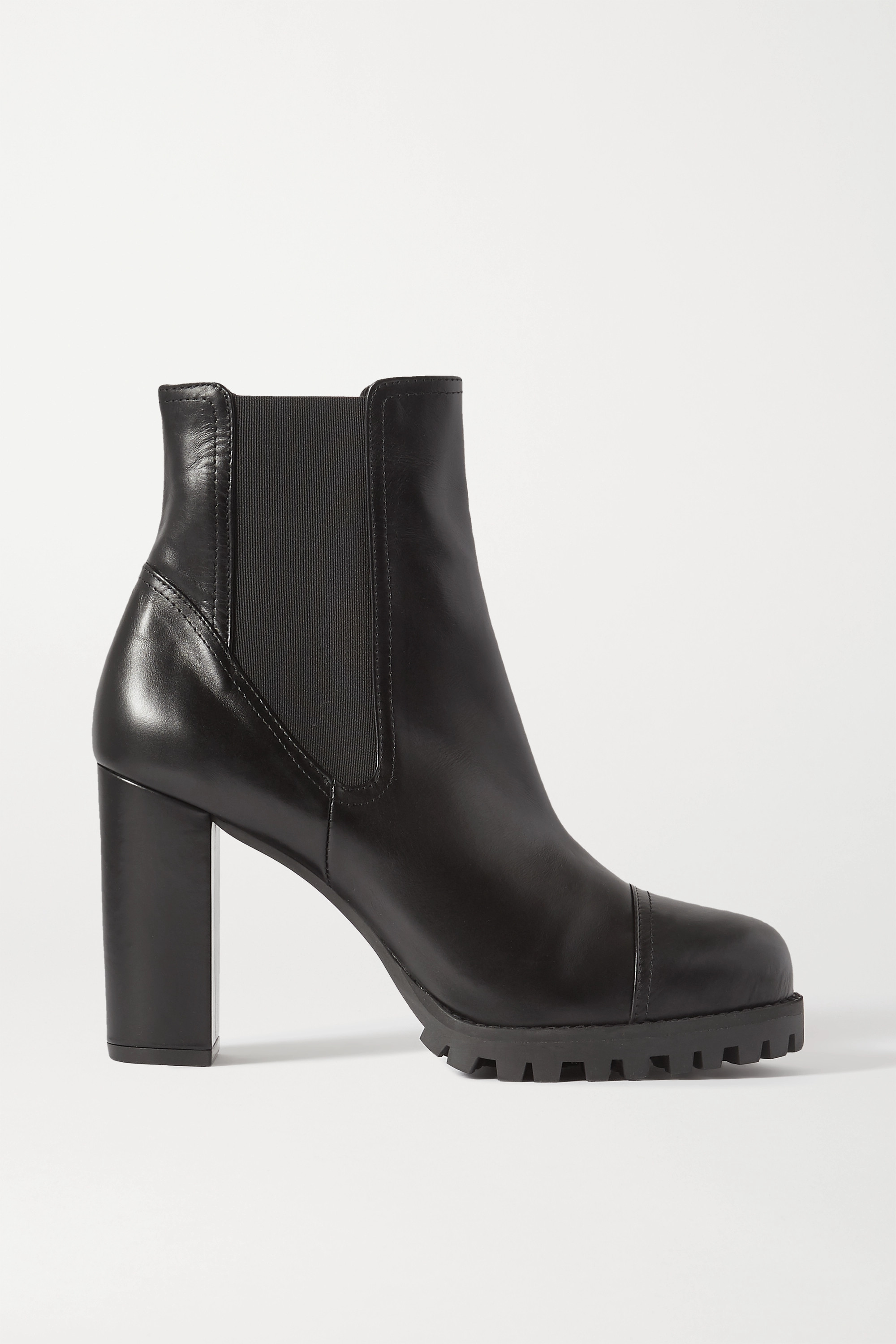 Black Wenda leather ankle boots