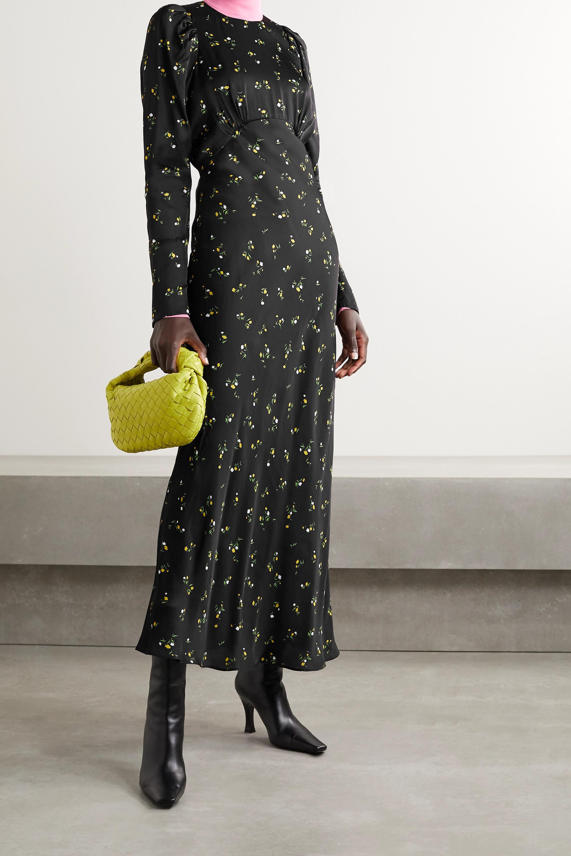 Les Rêveries Floral-print satin maxi dress