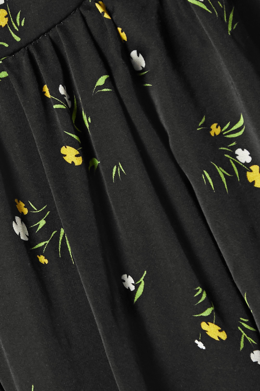 Les Rêveries Cape-effect floral-print satin mini dress