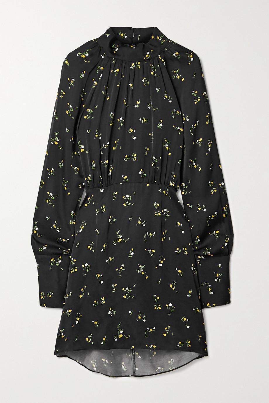 Les Rêveries Minikleid aus Satin mit Blumenprint und Cape-Effekt