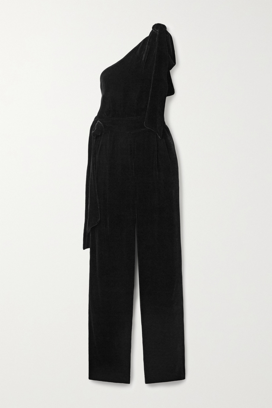 Les Rêveries One-shoulder velvet jumpsuit