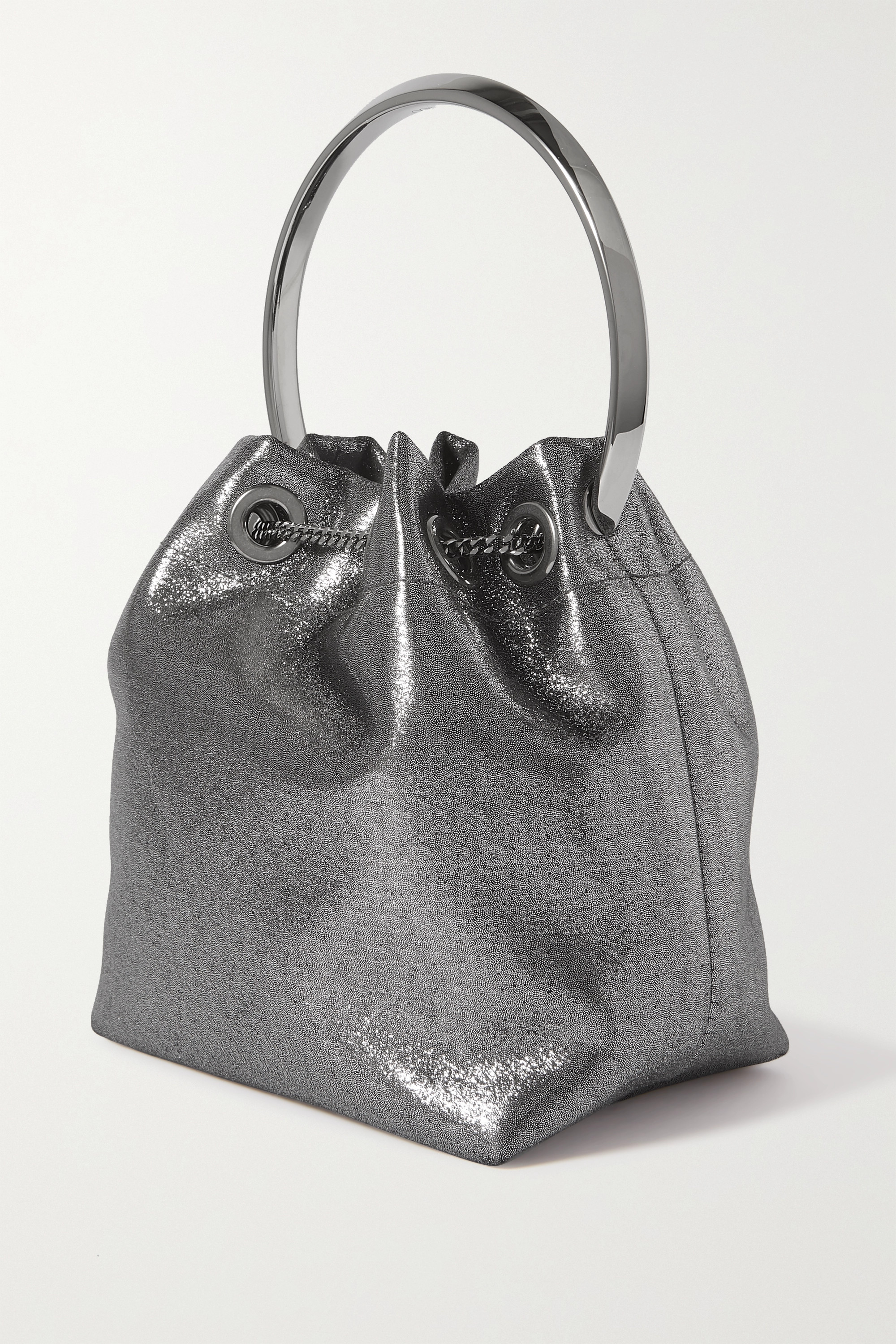 Jimmy Choo Bon Bon metallic satin bucket bag