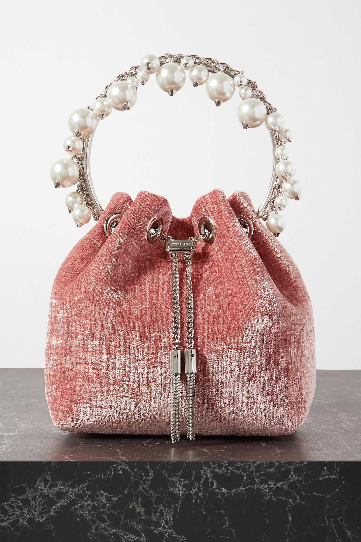 Jimmy Choo Bon Bon faux pearl-embellished velvet bucket bag