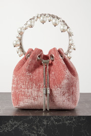 Jimmy Choo Bon Bon faux pearl-embellished velvet bucket bag