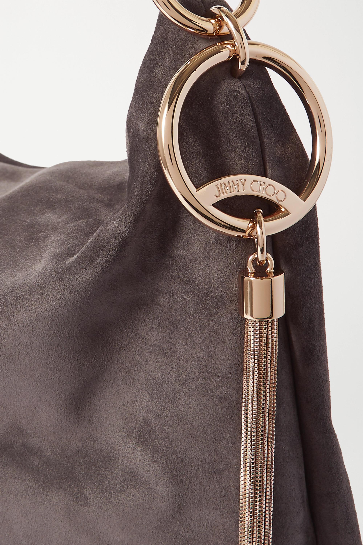 Jimmy Choo Callie Hobo large tasseled leather-trimmed suede shoulder bag