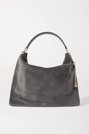Jimmy Choo Callie Hobo large tasseled leather-trimmed suede shoulder bag