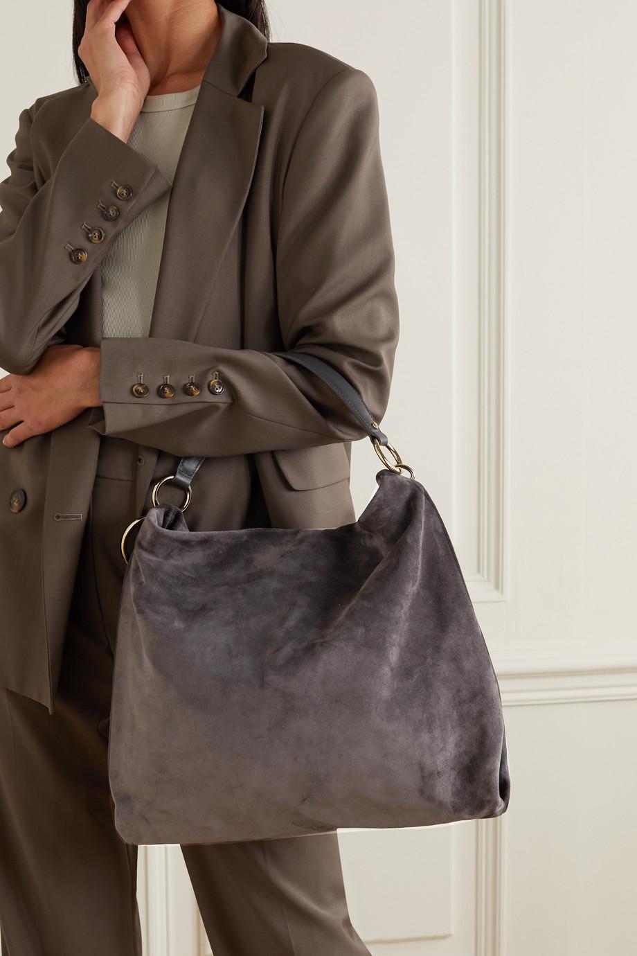 Jimmy Choo Callie Hobo große Schultertasche aus Veloursleder mit Lederbesatz und Troddel