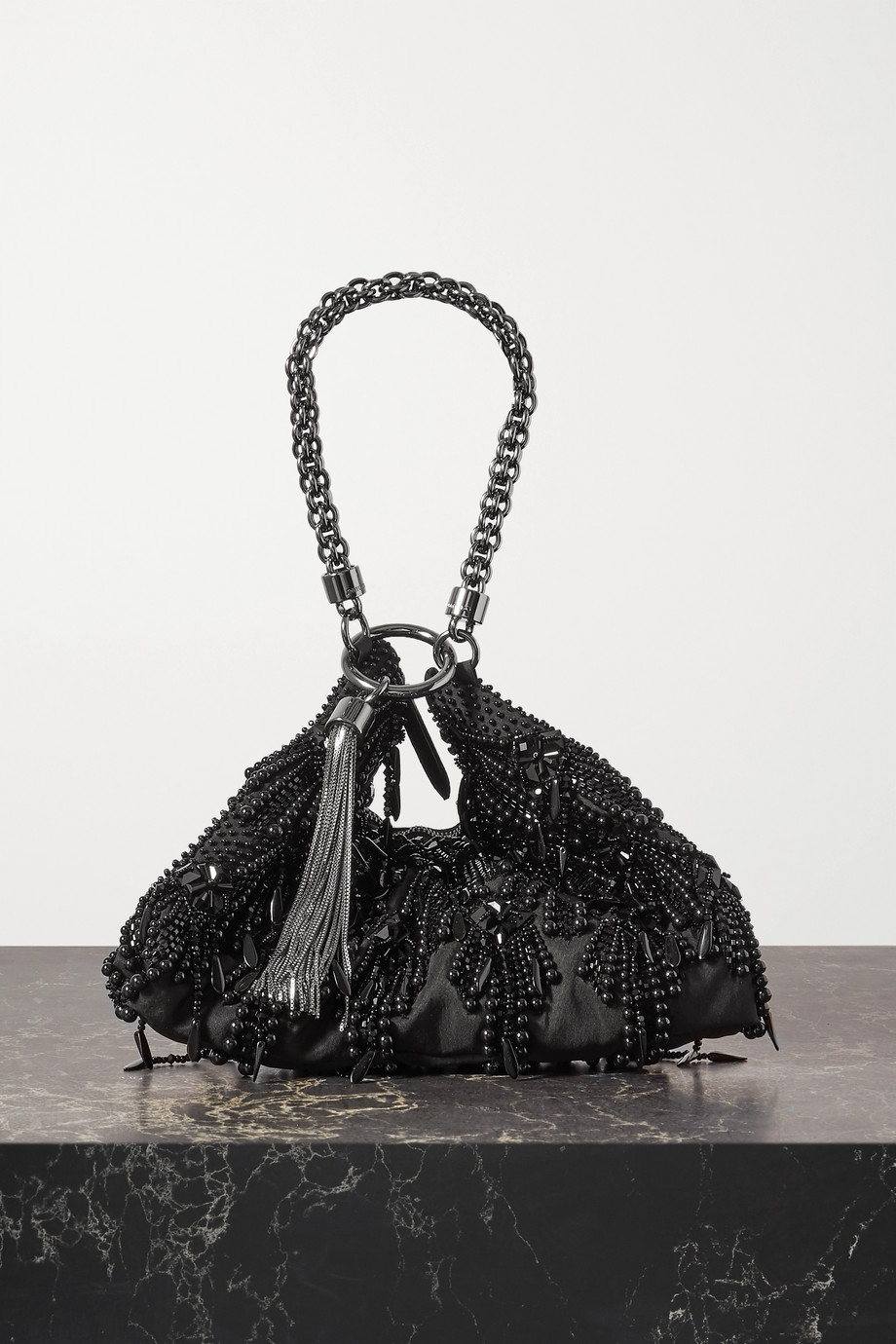 Jimmy Choo Callie tasseled beaded satin shoulder bag