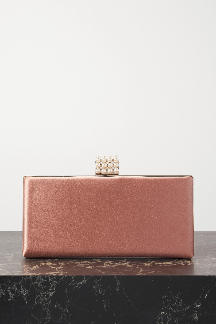 Jimmy Choo Celeste faux pearl and crystal-embellished satin clutch