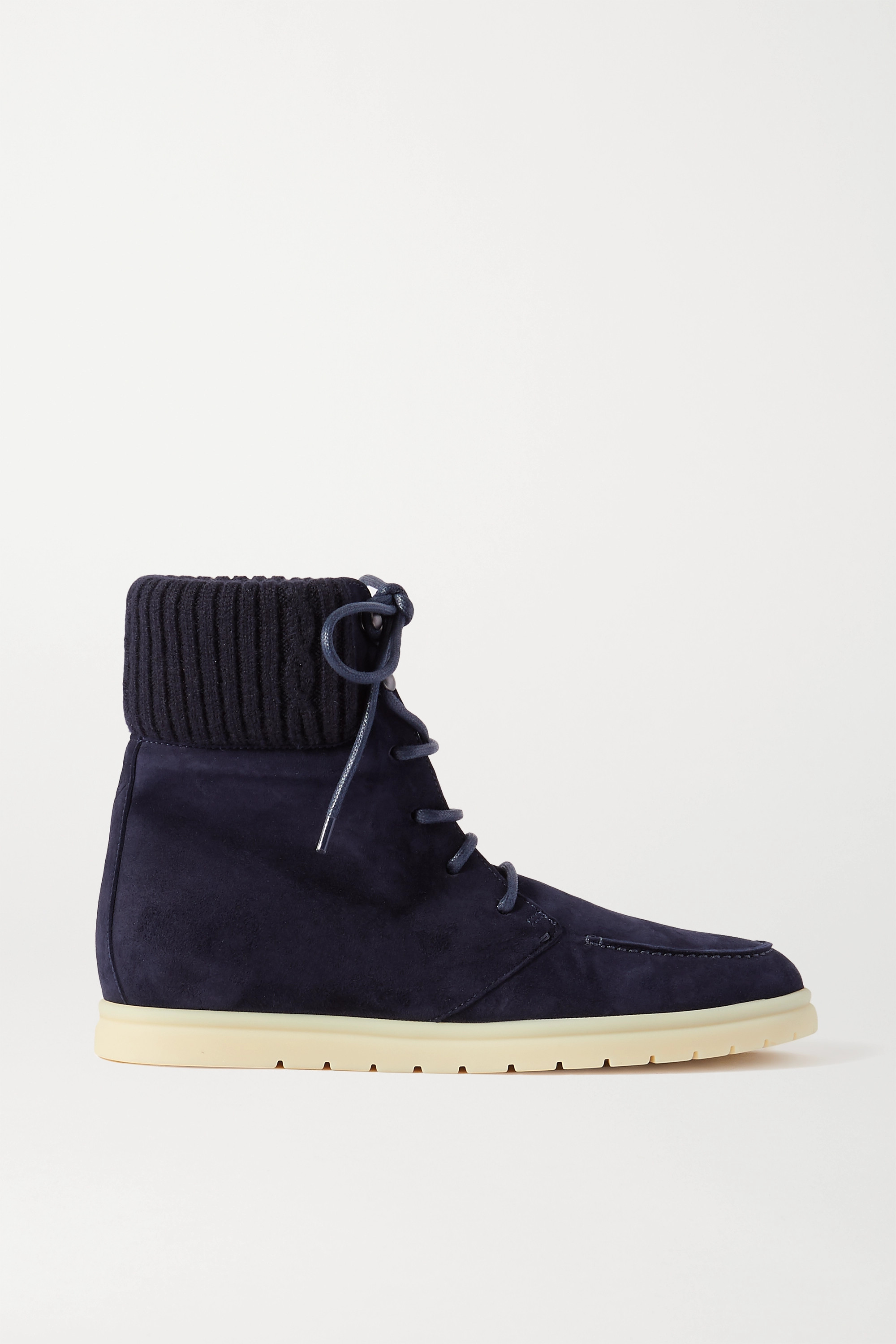 Loro Piana Ontario ribbed cashmere-trimmed suede ankle boots